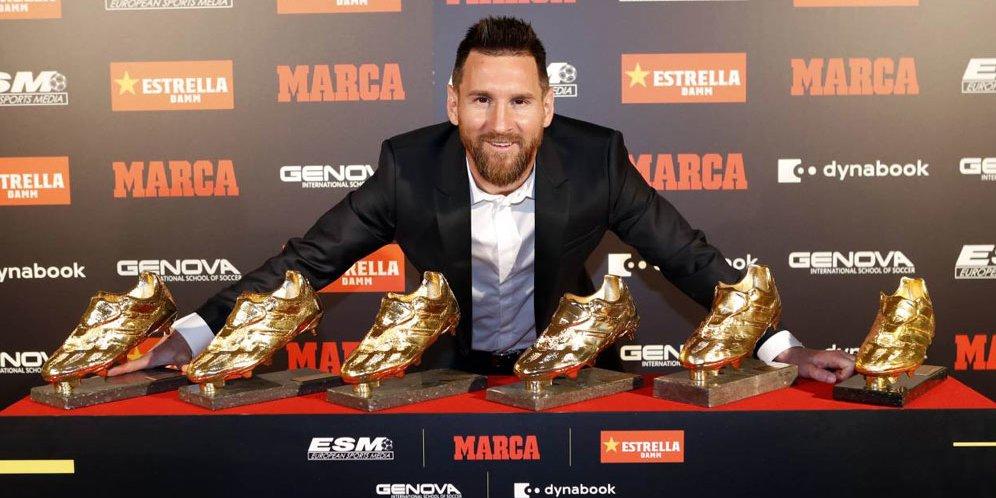 Kalahkan Mbappe, Lionel Messi Raih Trofi Sepatu Emas Eropa 2019